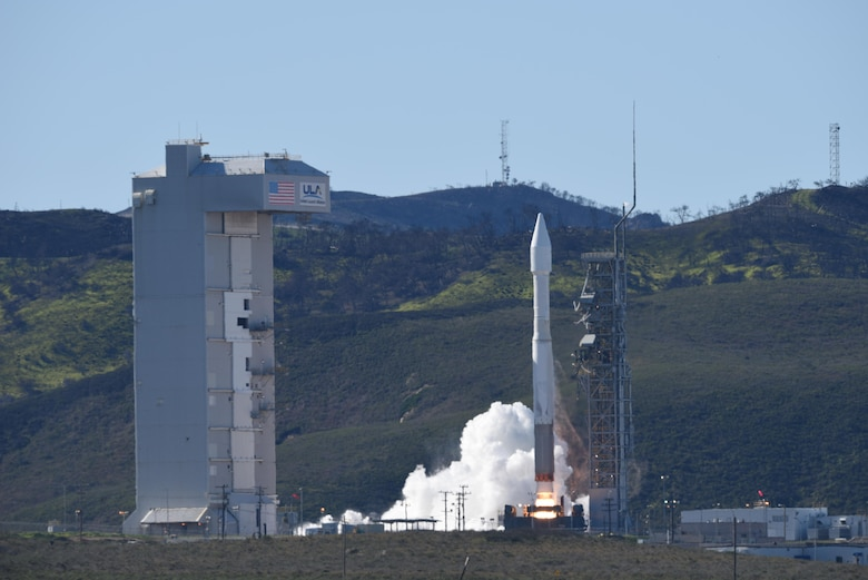 A National Reconnaissance Office payload on a United Launch Alliance Atlas V rocket, launches from Space Launch Complex-3, March 1, 2017, Vandenberg Air Force Base, Calif. (U.S. Air Force photo by Senior Airman Ian Dudley/Released)