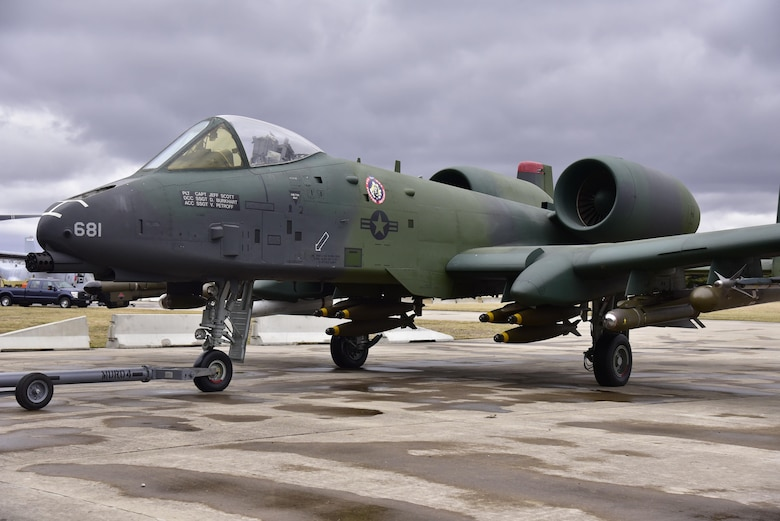 DAYTON, Ohio -- Fairchild Republic A-10A Thunderbolt II   being moved into position in the Cold War Gallery at the National Museum of the United States Air Force. The restoration crew members worked as part of a team to complete the gallery reconfiguration on Jan. 26, 2017. (U.S. Air Force photo)