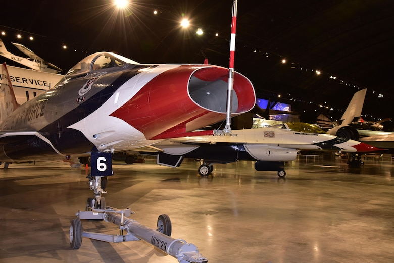 DAYTON, Ohio -- North American F-100D Super Sabre on display in the Cold War Gallery at the National Museum of the United States Air Force. (U.S. Air Force photo by Ken LaRock)