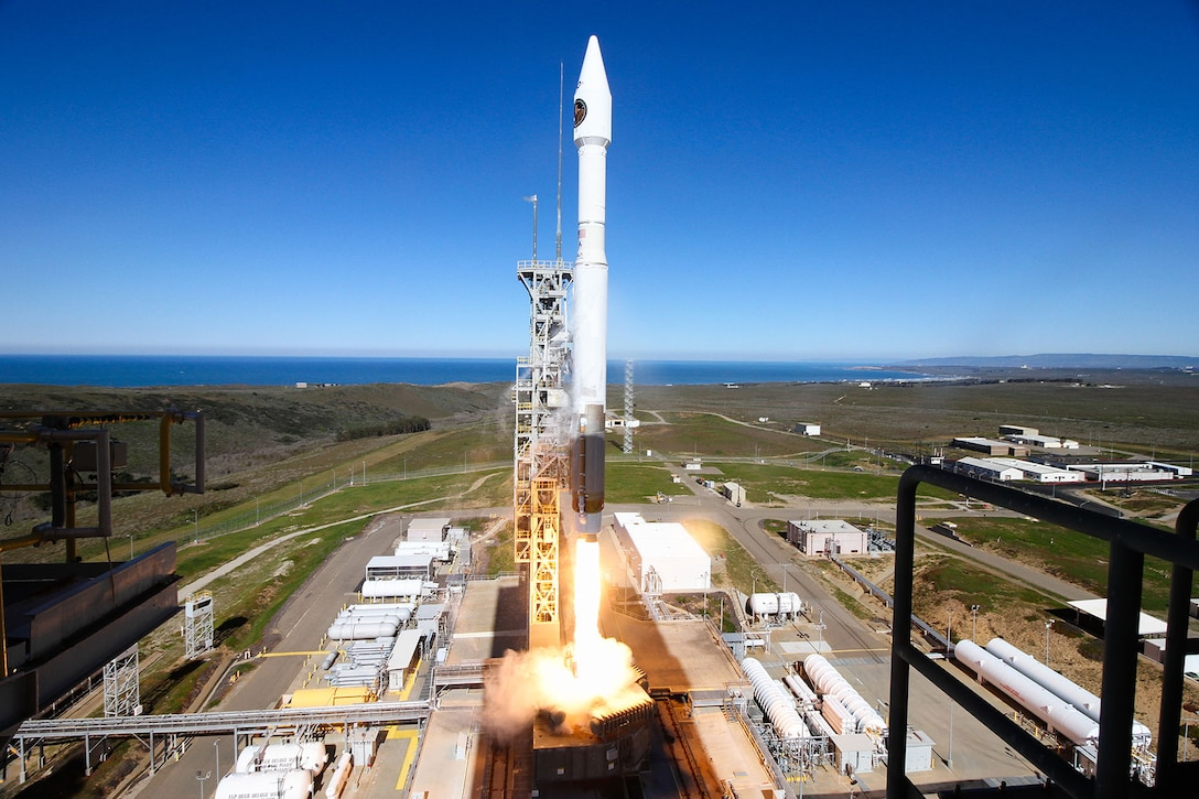 An Atlas V rocket carrying the NROL-79 mission lifts off from Vandenberg AFB's Space Launch Complex-3 at 9:50 a.m. PST, March 1.(Photo courtesy of United Launch Alliance)