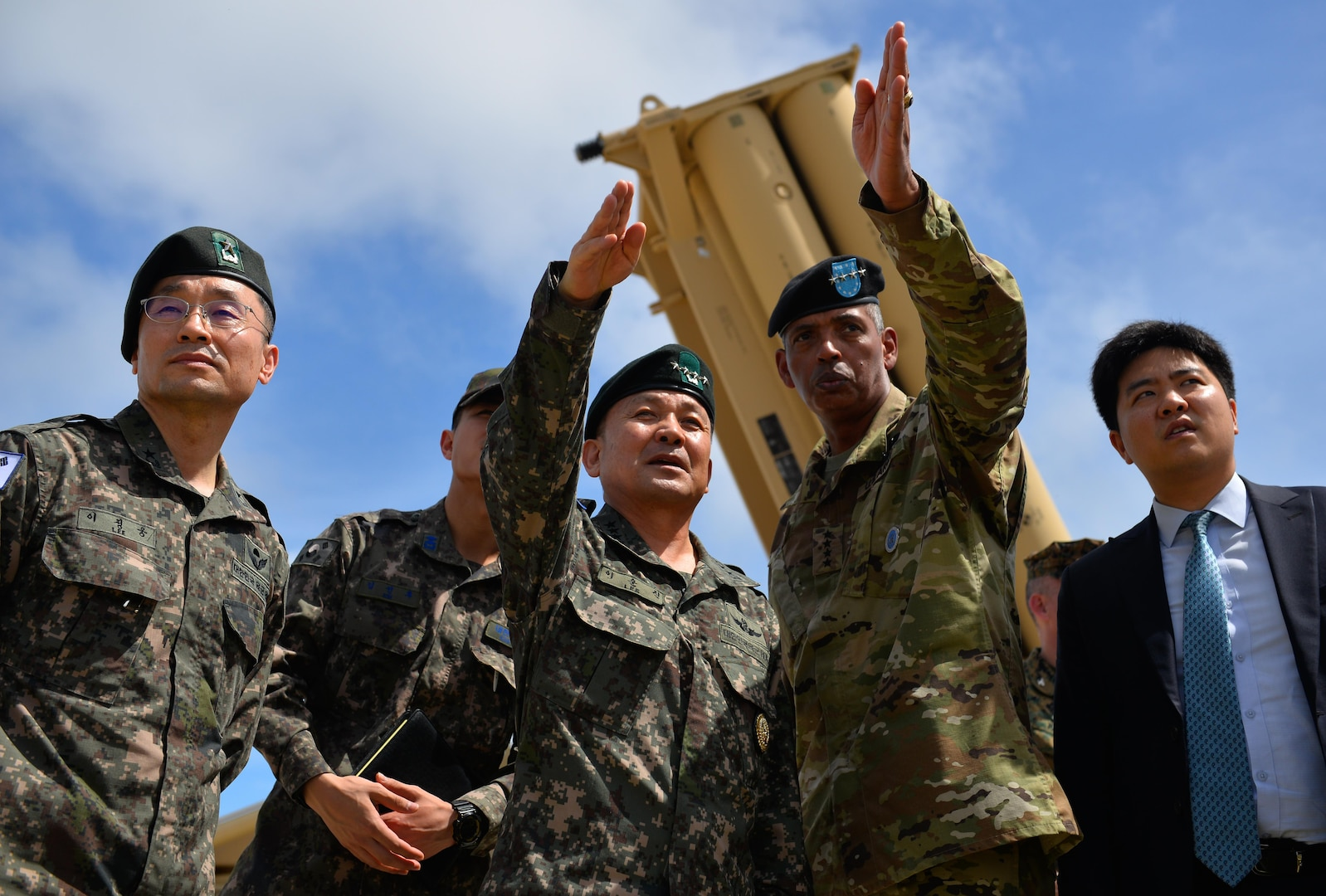 South Korea's Gen. Sun Jin Lee, Republic of Korea Army chairman and joint chiefs of staff visits Guam's Terminal High Altitude Area Defense, or THAAD, site Nov. 1, 2016, along with Gen. Vincent K. Brooks, commander of the combined U.S. forces in South Korea,  along with U.S. Army Gen. Vincent K. Brooks, commander of the combined U.S. forces in South Korea. The two generals also visited a line of B-1B Lancers at Andersen Air Force Base, as well as boarded the visiting ballistic missile submarine USS Pennsylvania at Naval Base Guam.