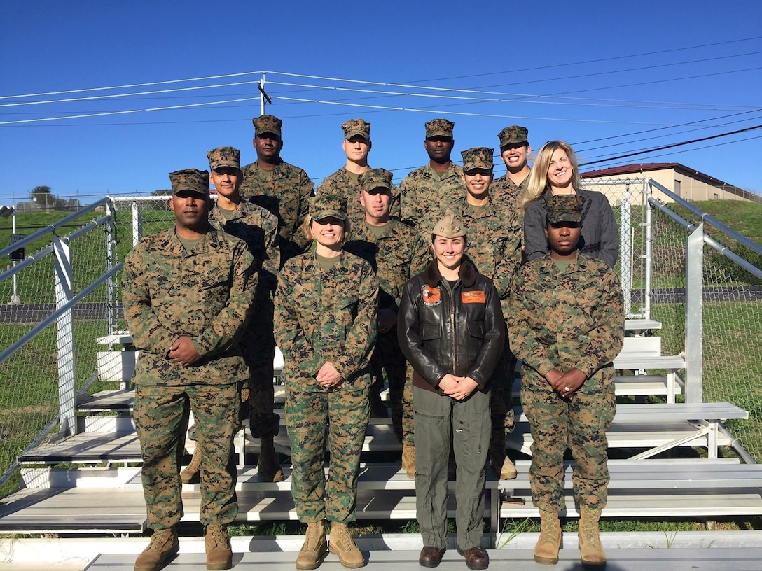Members of the Hiring Our Heroes Corporate Fellowship Program pose for a photo at Marine Corps Base Camp Pendleton, Calif. The 12-week program pairs transitioning service members with employers in the corporate sector, providing them with meaningful employment. (Courtesy Photo/Released)