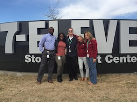 Retired Staff Sgt. Junior Hamilton, left, a member of the Hiring Our Heroes Corporate Fellowship Program, poses with members of the 7-Eleven®  team at the 7-Eleven® corporate office in San Diego, Calif., during his corporate fellowship Jan. 11- March 6. During the fellowship, Hamilton worked with 7-Eleven® as a field consultant to gain experience in the corporate sector during his transition out of the Marine Corps. (Courtesy Photo/Released)