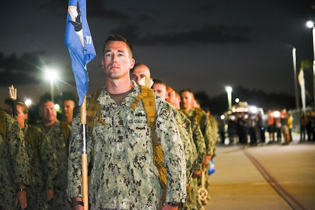 Port Security Unit 307 members line up in formation during a homecoming ceremony after returning home from a nine-month deployment to Guantanamo Bay, Feb. 27, 2017.
