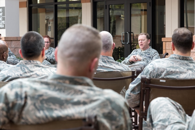 Major General Richard Scobee, Tenth Air Force Commander, sat down with the command chiefs and group superintendents to get their perspective on various issues throughout the command.