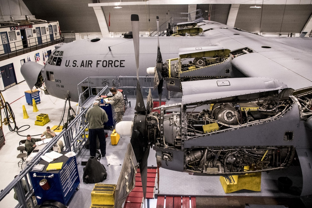 Members from the 179th Airlift Wing, Mansfield, Ohio perform an isochronal inspection of a C-130H Hercules Feb. 10, 2017.  The 179th Airlift Wing is always on a mission to be the first choice to respond to community, state and federal missions with a trusted team of highly qualified Airmen. (U.S. Air National Guard photo by 1st Lt. Paul Stennett\Released)