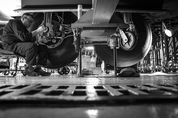 Tech. Sgt. Brandon Reed inspects the landing gear of a C-130H Hercules during an isochronal inspection on Feb. 14, 2017, at the 179th Airlift Wing, Mansfield, Ohio. The 179th Airlift Wing is always on a mission to be the first choice to respond to community, state and federal missions with a trusted team of highly qualified Airmen. (U.S. Air National Guard photo by Tech. Sgt. Joe Harwood\Released)