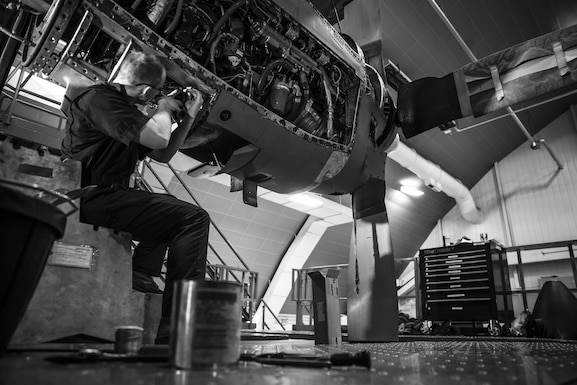 Senior Airman Hunter Mitchell installs the safety wire of a high pressure fuel filter on a C-130H Hercules during an isochronal inspection on Feb. 14, 2017, at the 179th Airlift Wing, Mansfield, Ohio. The 179th Airlift Wing is always on a mission to be the first choice to respond to community, state and federal missions with a trusted team of highly qualified Airmen. (U.S. Air National Guard photo by Tech. Sgt. Joe Harwood\Released)