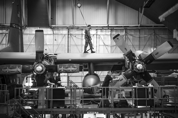 Airmen from the 179th Airlift Wing Maintenance Group perform an isochronal inspection of a C-130H Hercules on Feb. 14, 2017, at the 179th Airlift Wing, Mansfield, Ohio. The 179th Airlift Wing is always on a mission to be the first choice to respond to community, state and federal missions with a trusted team of highly qualified Airmen. (U.S. Air National Guard photo by Tech. Sgt. Joe Harwood\Released)