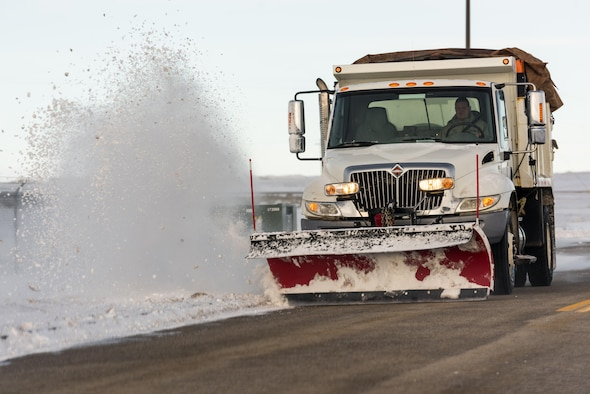 A 366th Civil Engineer Squadron airman plows snow on the roads at Mountain Home Air Force Base, Idaho, Feb. 28, 2017. Mountain Home AFB has experienced a record snow fall this season with 35.6 inches of snow. (U.S. Air Force photo by Senior Airman Connor Marth/Released)