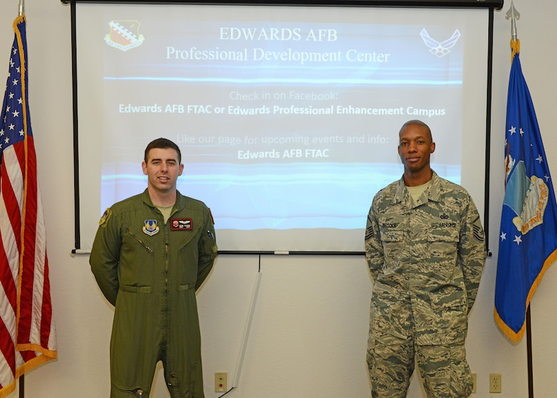 From left: Staff Sgt. Adam Joachim, First Term Airmen Center NCOIC, and Master Sgt. Andre Brooks, career assistance advisor, are part of the staff that will be conducting new professional development classes for Airmen. (U.S. Air Force photo by Kenji Thuloweit)