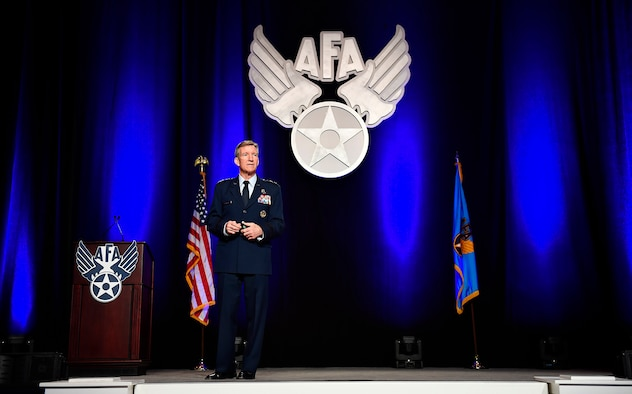 Gen. Hawk Carlisle, the Air Combat Command commander, speaks about the future of command and control and fusion warfare at the Air Force Association Air Warfare Symposium March 2, 2017, in Orlando, Fla. (U.S. Air Force photo/Scott M. Ash)