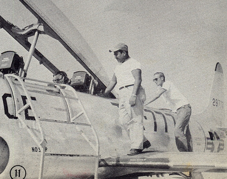 Aircraft maintenance operations on Laughlin Air Force Base, Texas, in 1956. (Courtesy photo)