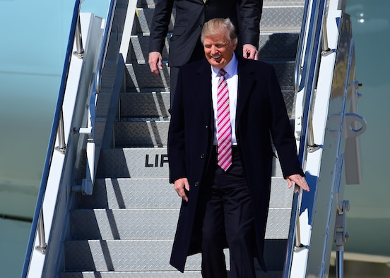 President Donald J. Trump arrives on Air Force One to Joint Base Langley-Eustis, Va., March 2, 2017. Joint Base Langley-Eustis provides mission ready Airmen and Soldiers who deploy at a moment's notice to support combatant commanders engaged in expeditionary, joint and coalition operations world-wide.  (U.S. Air Force photo by Tech. Sgt. Daylena S. Ricks)