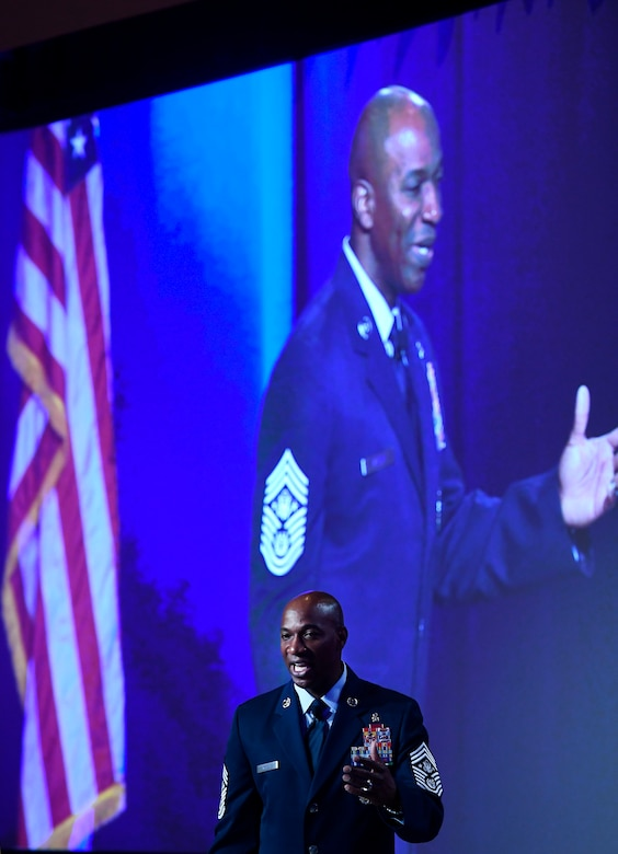 Chief Master Sgt. of the Air Force Kaleth O. Wright speaks about leading Airmen at the Air Force Association Air Warfare Symposium March 2, 2017, in Orlando, Fla. (U.S. Air Force photo/Scott M. Ash)