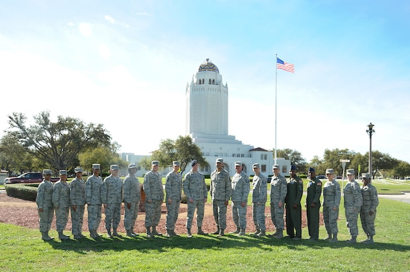 The 2017 Joint Base San Antonio-Randolph senior master sergeant selects gather for a group photo in front of the Taj at JBSA-Randolph March 2, 2017. The Air Force selected 1,391 master sergeants for promotion, with an overall selection rate of 11.8 percent. (U.S. Air Force photo by Joel Martinez/Released)