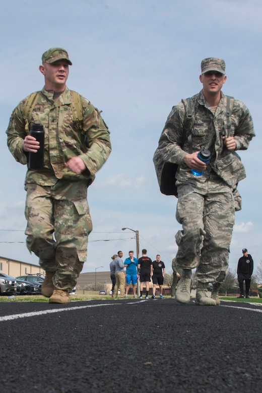 Fly-Away Security Team trainees jog to their designated training location at Joint Base Andrews, Md., March 1, 2017. This day focused on verbal judo, which is an important skill for Ravens to use to deescalate a situation without the use of physical force. (U.S. Air Force photo by Airman 1st Class Valentina Lopez)