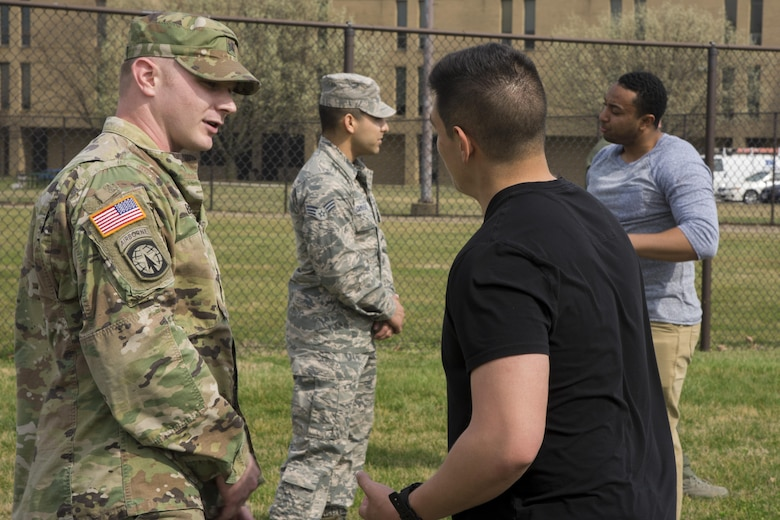 """Participants of Fly-Away Security Team training, nicknamed """"Pre-Raven,"""" practice verbal judo at Joint Base Andrews, Md., March 1, 2017. On this day, Pre-Raven trainees practiced verbal judo, which is an important skill for Ravens to use to deescalate a situation without the use of physical force. (U.S. Air Force photo by Airman 1st Class Valentina Lopez)"""