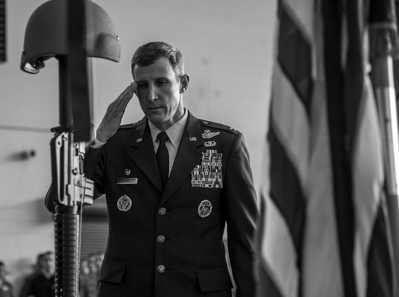 Col. Thomas Kunkel, 23d Wing commander, renders a final salute to a battlefield cross during a memorial ceremony in honor of Staff Sgt. Sara Toy, 74th Aircraft Maintenance Unit weapons team chief, March 1, 2017, at Moody Air Force Base, Ga. Toy, a New Kent, Virginia native, died in a car accident Feb. 25, 2017. During the ceremony, she was remembered as a valuable member of the Team Moody weapons community and was posthumously awarded the Air Force Commendation Medal and the rank of Staff Sergeant.