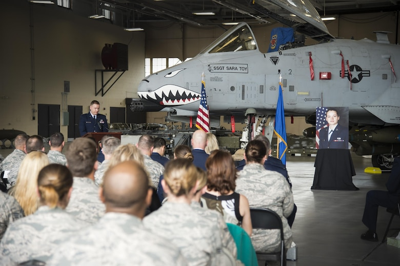 1st Lt. Christopher Burson, 74th Aircraft Maintenance Unit, provides opening remarks during a memorial ceremony in honor of the late Staff Sgt. Sara Toy, 74th Aircraft Maintenance Unit weapons team chief, March 1, 2017, at Moody Air Force Base, Ga. Toy, a New Kent, Virginia native, died in a car accident Feb. 25, 2017. During the ceremony, she was remembered as a valuable member of the Team Moody weapons community and was posthumously awarded the Air Force Commendation Medal and the rank of Staff Sergeant. (U.S. Air Force photo by Andrea Jenkins/Released)
