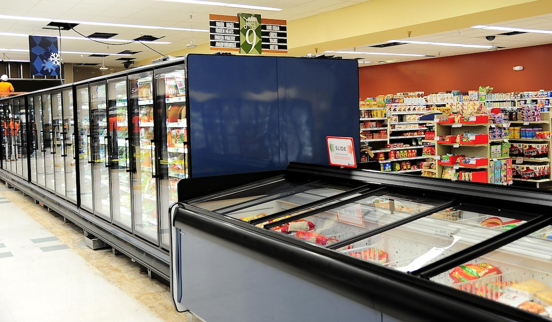 New freezers now replace the older units at the Commissary March 1, 2017, on Columbus Air Force Base, Mississippi. Despite all the construction, the Commissary does not plan on any closures in the future due to the upgrades. (U.S. Air Force photo by Senior Airman Kaleb Snay)