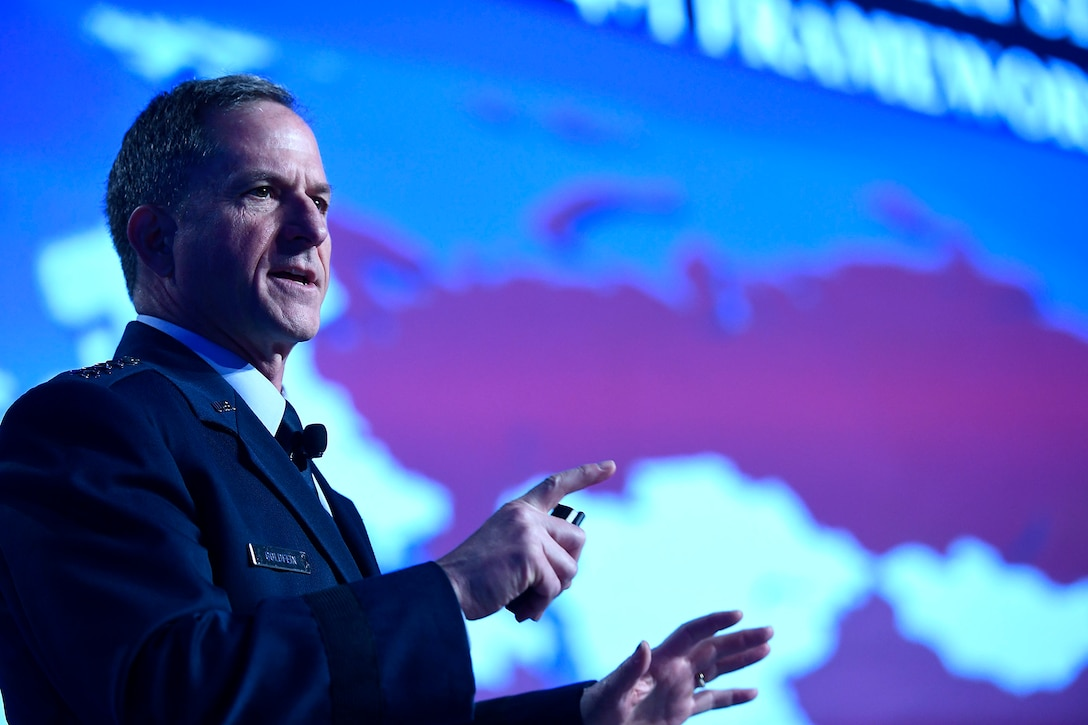 "Air Force Chief of Staff Gen. David L. Goldfein gives his ""Air Force Update,"" at the Air Force Association Air Warfare Symposium March 2, 2017, in Orlando, Fla. (U.S. Air Force photo/Scott M. Ash)"