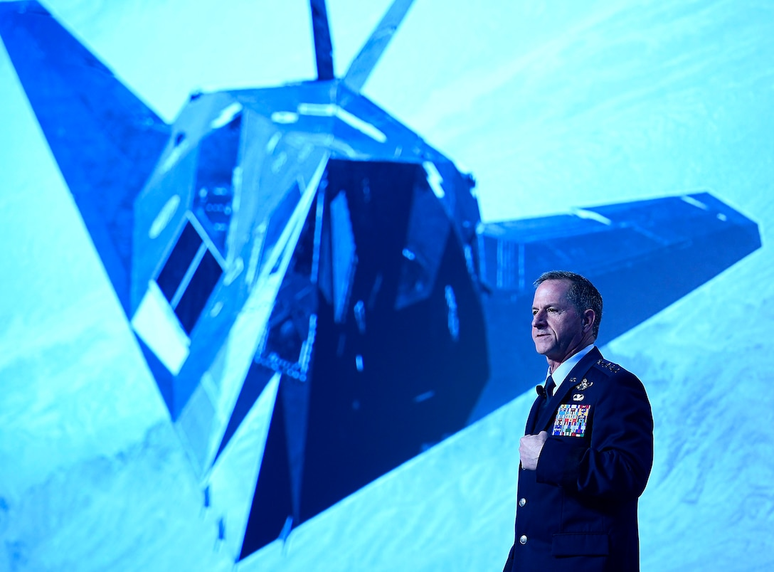 "Air Force Chief of Staff Gen. David L. Goldfein gives his ""Air Force Update,"" at the Air Force Association Air Warfare Symposium March 2, 2017, in Orlando, Fla. (U.S. Air Force photo/Scott M. Ash)"