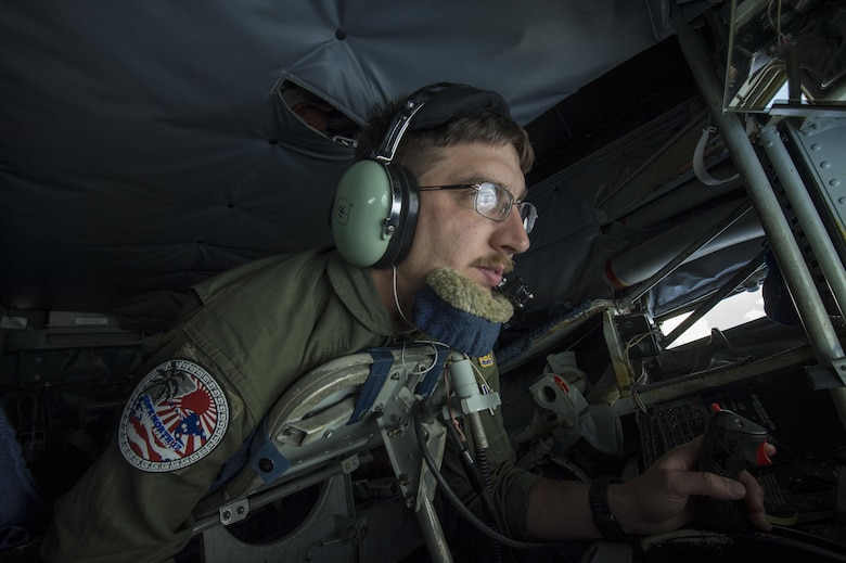 U.S. Air Force Staff Sgt. Jeremy Culliton, 909th Aerial Refueling Squadron instructor boom operator, refuels an F-16 Fighting Falcon assigned to the 14th Fighter Squadron during Cope North 17, March 2, 2017. The exercise includes 22 total flying units and more than 2,700 personnel from three countries and continues the growth of strong, interoperable relationships within the Indo-Asia-Pacific region through integration of airborne and land-based command and control assets. (U.S. Air Force photo by Staff Sgt. Keith James)
