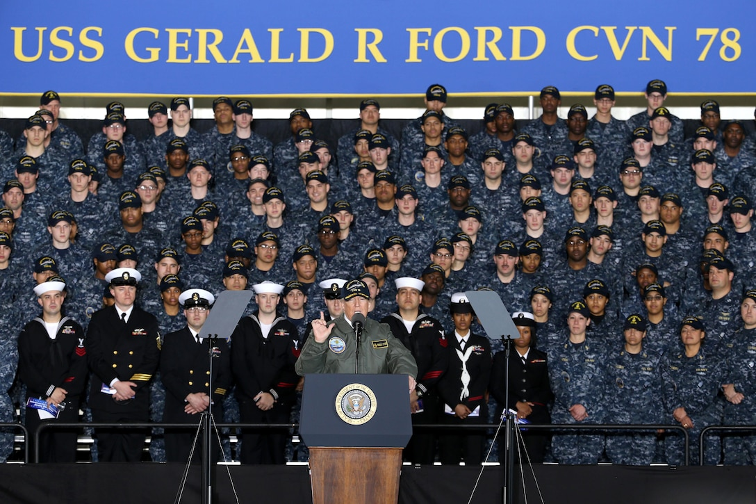 President Donald J. Trump speaks to sailors at an all-hands call inside the hangar bay of the future USS Gerald R. Ford in a visit to Newport News, Va., Mar. 2, 2017. Navy photo by Petty Officer 1st Class Joshua Sheppard