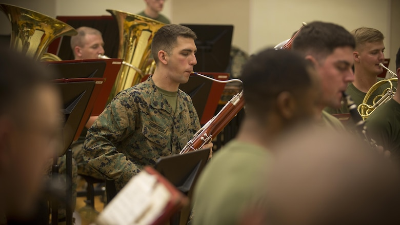Sgt. Nathan R. Gembreska, a Toledo, Ohio native, rehearses with the III Marine Expeditionary Force Band at the III MEF Band Hall, Camp Foster, Okinawa, Japan, March 1, 2017. Gembreska's primary instrument in the Marine Corps is the bassoon, but he is also proficient in the saxophone, piano, and piccolo. This year, he was nominated to represent the III MEF Band as the Marine Corps Musician of the Year for fiscal year 2016. (Marine Corps photo by Sgt. Kathy Nunez)