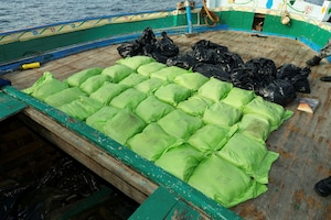 An illicit shipment of 800 kg of hashish seized by a visit, board, search and seizure (VBSS) team from the Royal Australian Navy Anzac-class frigate HMAS Arunta (FFH 151), which was conducting maritime security operations in the Arabian Sea, March 2, is seen onboard a fishing dhow. The ANZAC-class frigate made the seizure as part of Combined Task Force (CTF) 150, which was the first intercept of narcotics since December. The Canadian-led CTF 150 is one of three task forces under the U.S.-led Combined Maritime Forces (CMF)