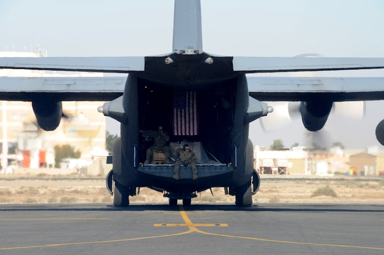 A 737th Expeditionary Airlift Squadron C-130H Hercules taxis on the flightline Feb. 8, 2017 at an undisclosed location in Southwest Asia. The 737th includes Airmen deployed from the 182nd Airlift Wing, Illinois Air National Guard, and supports Operation Inherent Resolve by delivering personnel and cargo downrange. (U.S. Air Force photo/Tech. Sgt. Kenneth McCann)