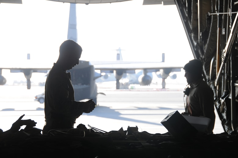 737th Expeditionary Airlift Squadron Airmen load a C-130H Hercules at an undisclosed location in Southwest Asia Feb. 8, 2017. The 737th includes Airmen deployed from the 182nd Airlift Wing, Illinois Air National Guard, and supports Operation Inherent Resolve by delivering personnel and cargo downrange. (U.S. Air Force photo/Tech. Sgt. Kenneth McCann)