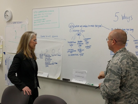 Sandra Speake, the master process officer for Air Force Materiel Command's Continuous Process Improvement effort discusses a team out-brief with Maj. Daniel Rosera during a recent CPI seminar. The objective is to enable all Airmen to eliminate waste and maximize customer value through the application of several widely accepted process improvement methodologies. (Contributed photo)
