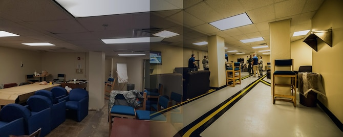 A new crew lounge officially opened at base operations for Maxwell Air Force Base on Feb. 24, 2017. The 42nd Operations Support Squadron turned an abandoned space on base into a place suitable for transient aircrew, completing the largest known self-help project on Maxwell. (U.S. Air Force graphic by Senior Airman William Blankenship)