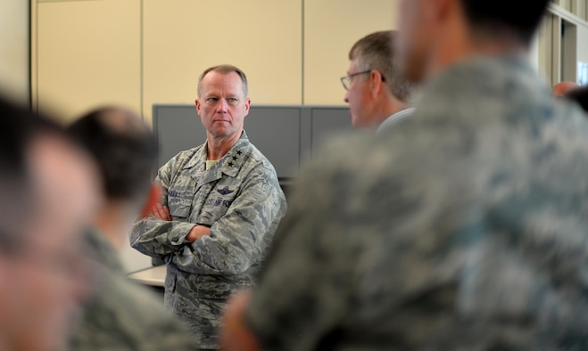 Lt. Gen Mark D. Kelly, 12th Air Force (Air Forces Southern), visits with Airmen assigned to the 557th Weather Wing Offutt Air Force Base, Neb. Feb. 22, 2017. General Kelly spent the day visiting with the weather wing's Airmen and civilians during the immersion tour. (U.S. Air Force photo by Josh Plueger)
