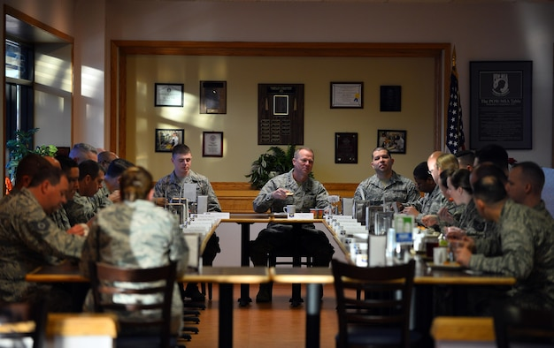 Lt. Gen. Mark D. Kelly, 12th Air Force (Air Forces Southern), eats breakfast with 557th Weather Wing Airmen at the Ronald L. King Dining Facility, Offutt Air Force Base, Neb., Feb. 22, 2017. The 12th AF (AFSOUTH) commander spent the day touring the weather wing as part of an immersion tour. (U.S. Air Force photo by Josh Plueger)