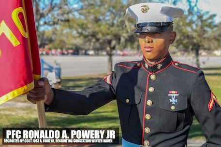 Private First Class Ronaldo A. Powery Jr stands at parade rest before his graduation ceremony aboard Marine Corps Recruit Depot Parris Island, South Carolina, March 03, 2017. Powery is the Honor Graduate of platoon 1010. Powery was recruited by Staff Sgt. Juan A. Cruz from Recruiting Substation Winter Haven. (U.S. Marine Corps photo by Lance Cpl. Jack A. E. Rigsby/Released)
