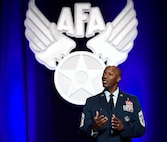 Chief Master Sgt. of the Air Force Kaleth O. Wright speaks about leading Airmen at the Air Force Association Air Warfare Symposium March 2, 2016, in Orlando, Fla. (U.S. Air Force photo/Scott M. Ash)