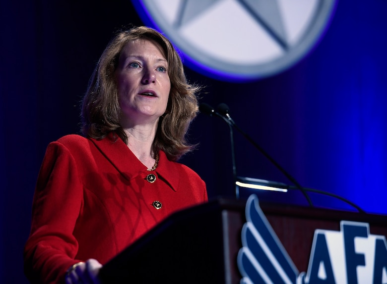 "Acting Secretary of the Air Force Lisa S. Disbrow gives her ""State of the Air Force"" keynote at the Air Force Association Air Warfare Symposium March 3, 2017, in Orlando, Fla. She spoke about the need to invest in Airmen, technology, space and acquisition, and enlist the help of industry to reach this goal. (U.S. Air Force photo/Scott M. Ash)"