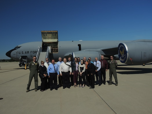 Civilian Leadership Development Program participants and members from the 126th Air Refueling Wing pose for a photo during the CLDP tour at Scott Air Force Base, Illinois. Air Mobility Command's Civilian Leadership Development Program is a year-long program in which participants are provided leadership training and orientations to various directorates within Headquarters AMC, various associate units and commercial partners. (U.S. Air Force photo)