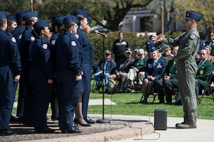 The Floresville High School Air Force Junior ROTC Chorale performs during and event celebrating the anniversary of the first military flight March 2, 2017, at Joint Base San Antonio-Fort Sam Houston, Texas. On March 2, 1910, then-Army Lt. Benjamin Foulois became the first person to make a military flight, from a military facility, in a government owned plane flown by a military-trained pilot.