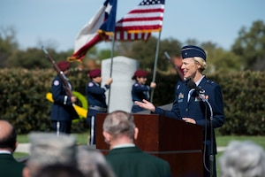 U.S. Air Force Brig. Gen. Heather Pringle, 502nd Air Base Wing and Joint Base San Antonio commander, speaks during a ceremony celebrating the anniversary of the first flight of Army Signal Corps aircraft No. 1 March 2, 2017, at JBSA-Fort Sam Houston, Texas. First Lt. Benjamin Foulois is credited with completing the first military flight on March 2, 1910. (U.S. Air Force photo by Senior Airman Stormy Archer)
