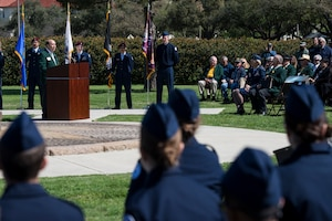 Retired U.S. Air Force Col. James Humphries, speaks during a ceremony celebrating the anniversary of the first flight of Army Signal Corps aircraft No. 1 March 2, 2017, at JBSA-Fort Sam Houston, Texas. On March 2, 1910, then-Army Lt. Benjamin Foulois became the first person to make a military flight, from a military facility, in a government owned plane flown by a military-trained pilot. (U.S. Air Force photo by Senior Airman Stormy Archer)