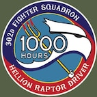 Patch awarded for 1,000 hours of flight time completed in the F-22 Raptor.