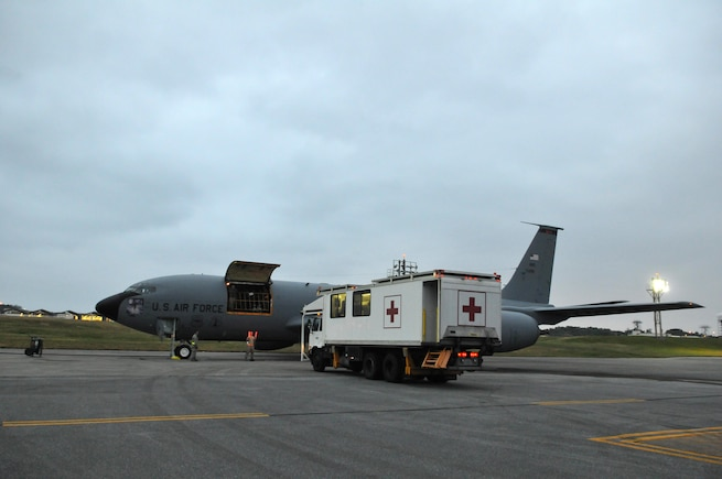 Patients are transported to a Utah Air National Guard KC-135R Stratotanker for an aeromedical evacuation flight to the U.S. from Kadena Air Base, Japan on Feb. 23, 2017. (U.S. Air National Guard photo by Tech. Sgt. Annie Edwards)