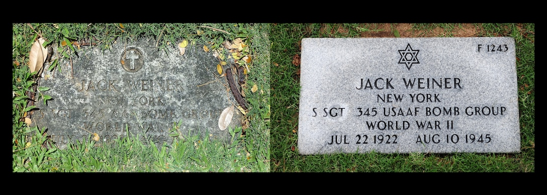 Photo illustration comparing Staff Sgt. Jack Weiner's previous headstone and his corrected headstone. In 1949 Weiner was interred with the wrong religious symbol on his headstone. On Feb. 28, 2017, 1st Lt Levy Pekar, Rabbi Chaplain assigned to Nellis Air Force Base, Nev., led the headstone replacement ceremony at the National Memorial Cemetery of the Pacific, Honolulu, HI. (U.S. Air Force photo illustration by Tech. Sgt. Heather Redman)