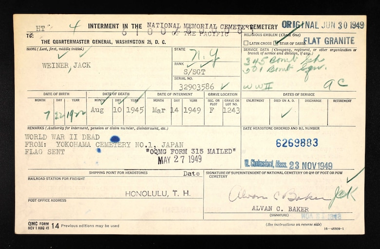 Copy of Staff Sgt. Jack Weiner's Quarter Master General's form. (Courtesy Photo)