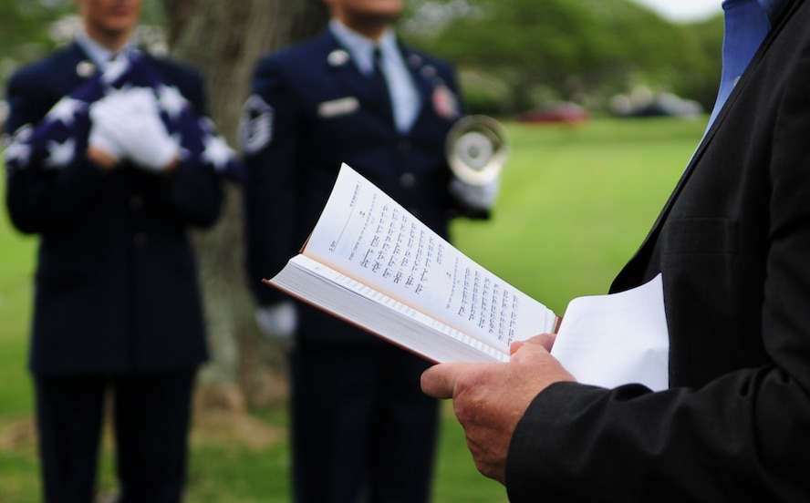 Daniel Bender, leader at the Lay Aloha Jewish Chapel, reads the Kelma'male Rachamim a prayer during a memorial service for Staff. Sgt. Jack Weiner, U.S. Army Air Forces, at the National Memorial Cemetery of the Pacific, Feb. 28, 2017. Weiner died in 1945 during an air raid in Japan and was originally interred with a tombstone featuring a Christian Cross instead of the requested Star of David. (U.S. Air Force photo by Tech. Sgt. Heather Redman)