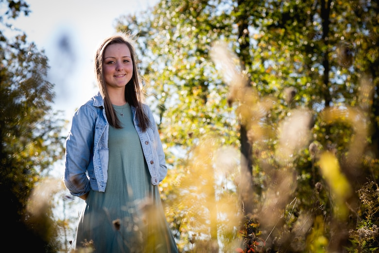 Molly Frey, a senior at Pickerington North High School, stands for a portrait at Dawes Arboretum Oct. 23, 2016, in Newark, Ohio. Frey recently won the 2017 National Guard Military Child of the Year award from Operation Homefront, a national nonprofit serving America's military families. (U.S. Air National Guard photo by Senior Master Sgt. Ralph Branson)